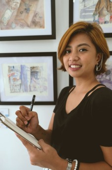 Teacher Jade: Jade Gacuan is a Vizcayan artist based in Manila. A graduate of Fine Arts Major in Painting from Far Eastern University, Cum Laude, she has worked as a Graphic Designer in the Metropolitan Museum ofManila and continues to pursue her fine arts career. She had her first soloexhibition in 2016, 365: Art of Being Alone--an exploration ofthe desolation of everyday life in the province and the city, contrastingurban and rural life as well asfinding sentiments and healing inthe lonesome life of being independent.In her most recent exhibitionImmured Arcadia, held on February 2019, she used her art toraiseawareness forMental and Emotional Health. Through this exhibition she was able to collaborate with writers'literary pieces,calling forththe newer generation to be vocal about these concerns.