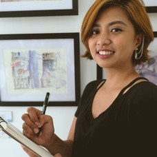 Teacher Jade: Jade Gacuan is a Vizcayan artist based in Manila. A graduate of Fine Arts Major in Painting from Far Eastern University, Cum Laude, she has worked as a Graphic Designer in the Metropolitan Museum of Manila and continues to pursue her fine arts career. She had her first solo exhibition in 2016, 365: Art of Being Alone--an exploration of the desolation of everyday life in the province and the city, contrasting urban and rural life as well as finding sentiments and healing in the lonesome life of being independent. In her most recent exhibition Immured Arcadia, held on February 2019, she used her art to raise awareness for Mental and Emotional Health. Through this exhibition she was able to collaborate with writers' literary pieces, calling forth the newer generation to be vocal about these concerns.