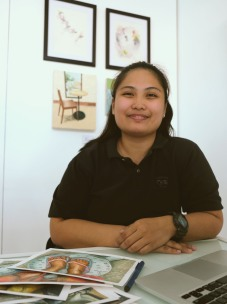 Teacher Carol: Anne Cristine Carol Elbo is a graduate of BSIndustrial Technology Major in Drafting with honors from the Eulogio 'Amang' Rodriguez Institute of Science & Technology,Cavite campus. and laterworked as a college instructor fromsaid campus. Teacher Carol is aphotographer, visual illustrator,graphic designer,art advocate from local art organisation Guhit Pinas,and World Peace advocator from a lay Buddhist organization. Her work is greatlyinfluenced fromtime alone with the television as well as daily lives in streets.