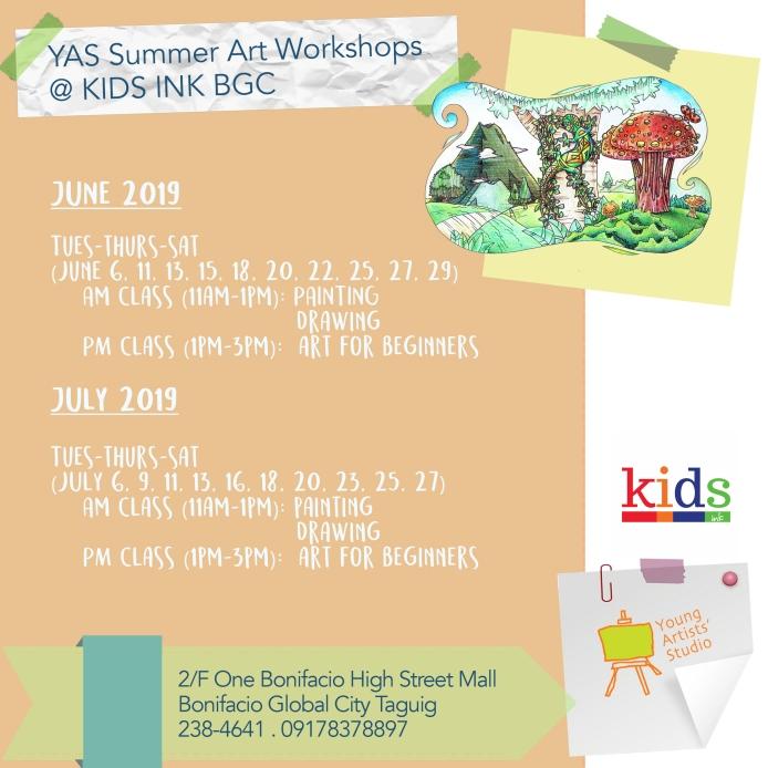 YAS @ Kids Ink BGC June & July Schedules